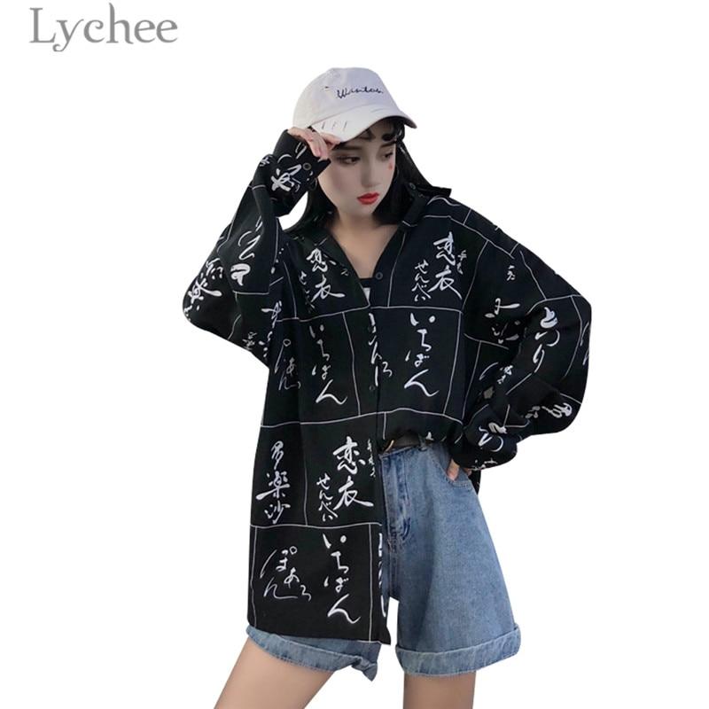 Lychee Harajuku Letter Print Plaid Women   Blouse   Casual Loose Long Sleeve Turn Down Collar Female   Blouse     Shirt   Tops Women