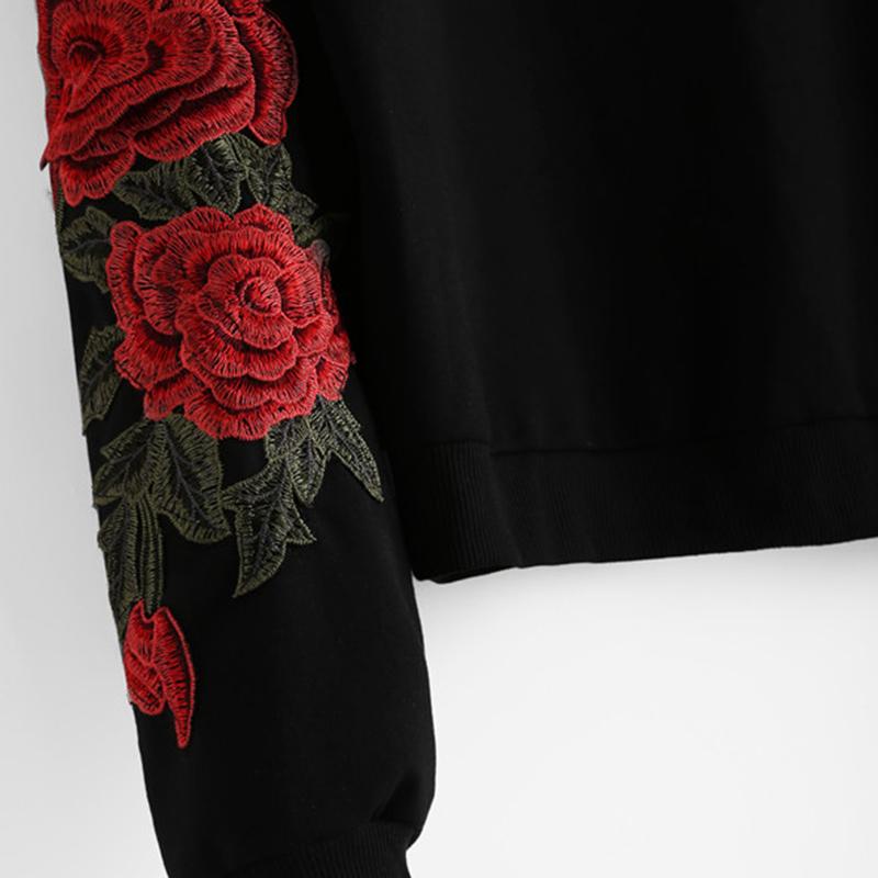 HTB1r8VSSVXXXXaDXpXXq6xXFXXXI - Rose Embroidery Sweatshirt Women Vintage Black Long Sleeve JKP050