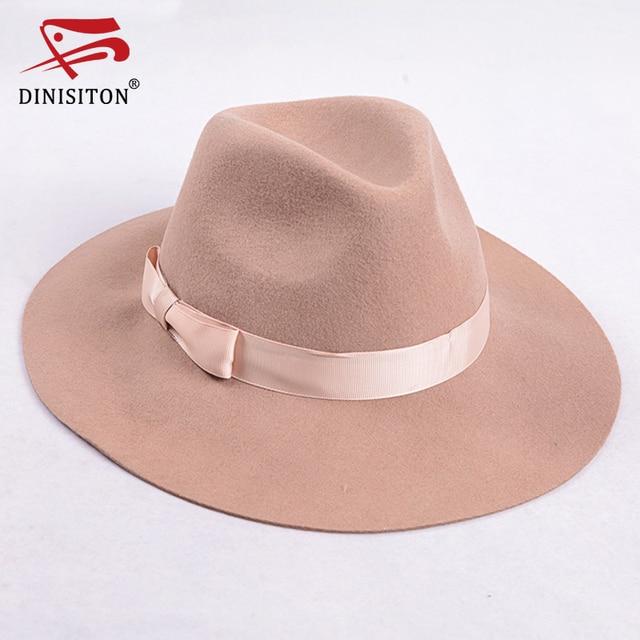 8d33e18760 DINISITON Vintage Cap Wool Felt Jazz Men Winter Hat Floppy Fedora Women Hat  Fashion Flat Large Size Woolen Male Hats F1M037025