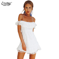 New Summer Popular Women Elegant Vintage Sweet Lace White Dress A Line Slash Neck Casual Beach Mini Sexy Dress Party Dress 9165