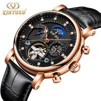 KINYUED Men Tourbillon Automatic Watch Luxury Fashion Brand Genuine Leather Man Calendar Week Moon Phase Mechanical