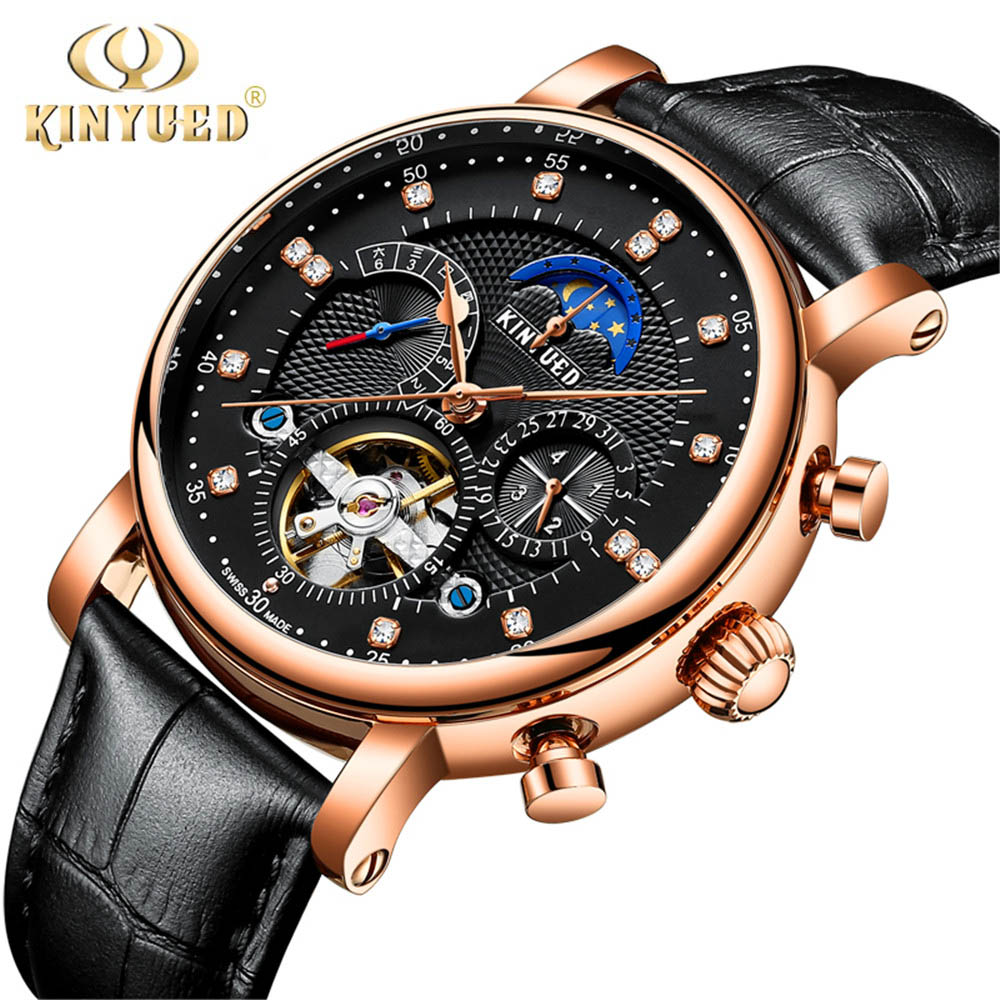 KINYUED Men Tourbillon Automatic Watch Luxury Fashion Brand Genuine Leather Man Calendar Week Moon phase Mechanical Watches original bansdon authentic leather automatic mechanical men s watch fashion watch waterproof roman calendar man luxury business