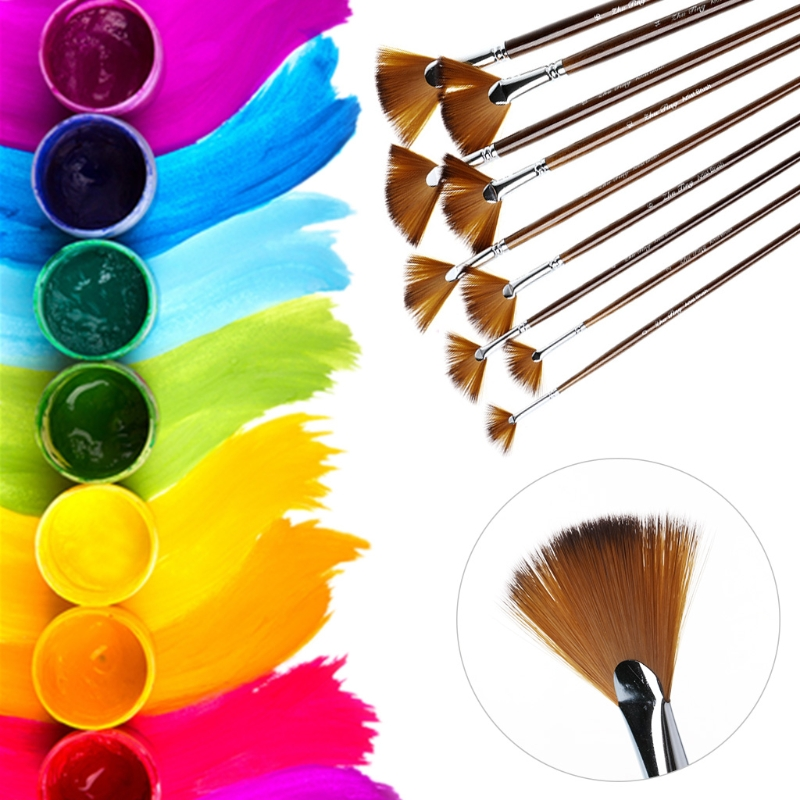 9Pcs Fan Shape Brush Painting Pen Set Nylon Hair Acrylic Watercolor Art Supplies цена 2017