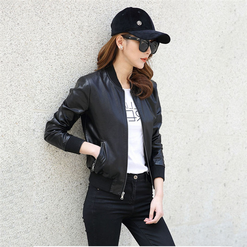 2019 nouveau femmes Veste en Faux cuir femme noir Bomber moto pilote de Baseball Chaqueta Mujer Biker Veste manteau Boutique YH323
