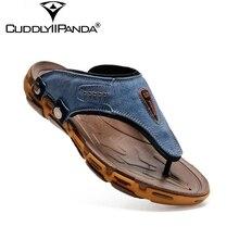 2017 Été Frais De Luxe Designer Hommes Flip Flops Rome Style En Cuir Véritable À Coudre Plage Sandales Rivets Pantoufles Zapatos Hombre