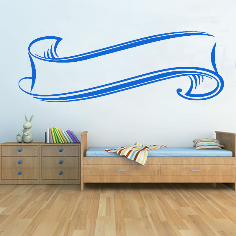 Simple Design Silk Ribbon Scroll Wall Sticker Removable DIY Waterproof Living Room Wall Decal Home Decor