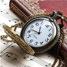 Unisex Antique Case Vintage Brass Rib Chain Train Pattern Clock Quartz Pocket Watch antique retro bronze vintage pattern pendant chain quartz skull face punk unisex pocket watch men women gifts antique watches