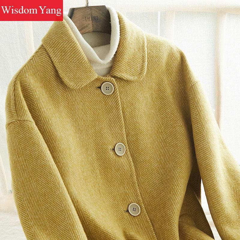 Laine Rayé Mouton Manteau Hiver Coréenne Alpaga Manteaux Longues 2018 Dames Élégant Yellow Coat Survêtement Jaune Femmes Occasionnel Pardessus Chaud De 4LRq35Aj