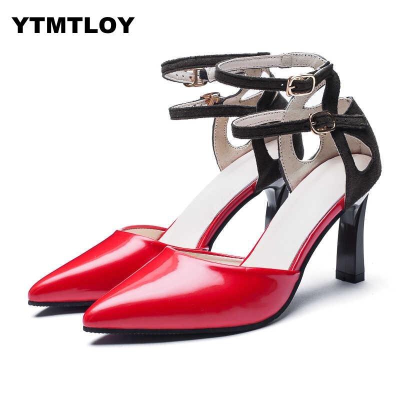 Factory Price Sexy Gladiator High Heels 8cm Women Pumps Wedding Dress Shoes Woman Valentine Stiletto Zapatos De Mujer  Rome