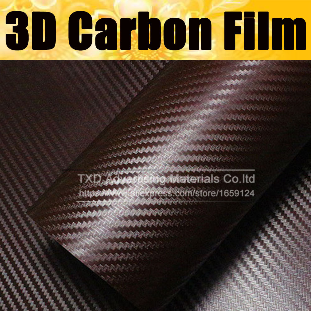 127CMx30CM Brown Carbon Fiber Vinyl Film  Car Sticker Waterproof DIY Auto Vehicle Car Styling Wrap Roll Car Styling