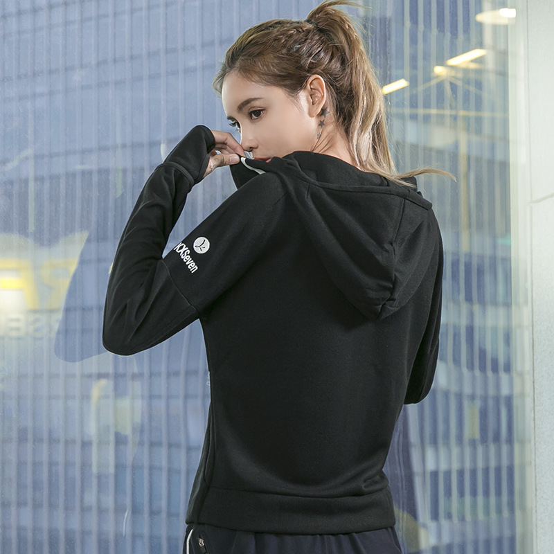 Running Jackets Women Sport Jacket Hooded Zipper Windproof Long Sleeve Yoga Shirts Outdoor Fitness Gym Workout Tops Sportswear in Running Jackets from Sports Entertainment