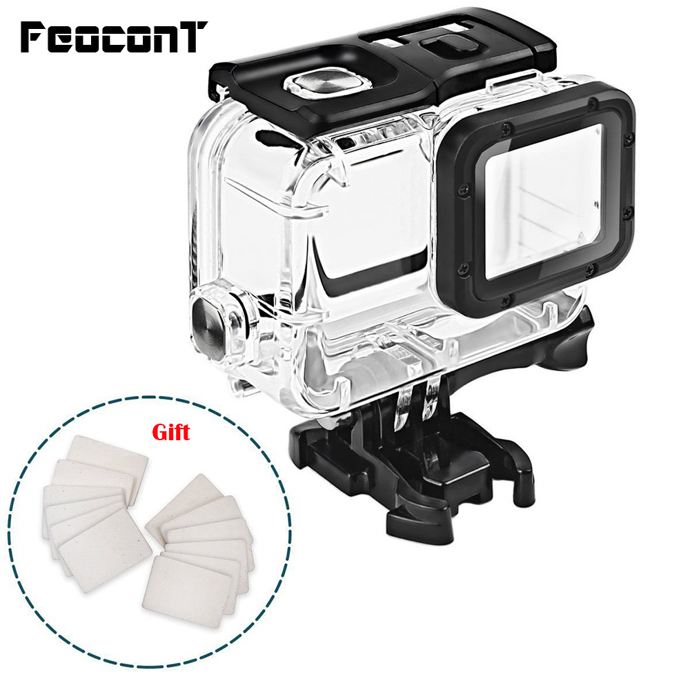 Clear Underwater Housing for Gopro Hero 5 6 with Anti Fog Inserts Protective Waterproof Dive Shell 40m Deep Water Scuba Case-in Sports Camcorder Cases from Consumer Electronics
