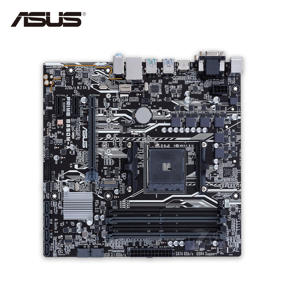 Asus PRIME B350M-A Desktop Motherboard AMD B350 Socket Socket AM4 AMD Ryzen DDR4 64G SATA3 USB3.1 Micro-ATX ...