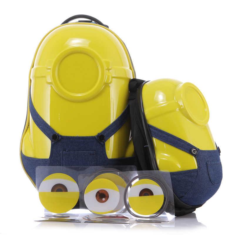 2 יח'\סט חמה מתנת ילדים נסיעות ילד מזוודות עגלת ילדים, קריקטורה 3D Minions תרמיל, קריקטורה דפוס מותאם אישית תיבת מזוודה
