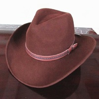Unisex Redish Brown Wool Felt Western Cowboy Hat
