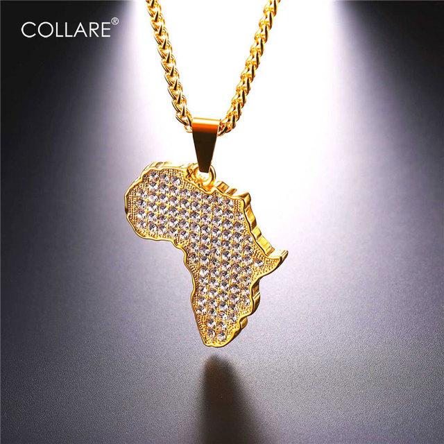 Collare African Map Pendant Rose GoldBlackGold Color Full Crystal
