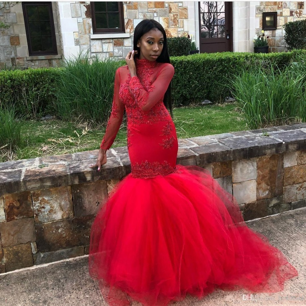 African Black Girls Sheer Red Mermaid   Prom     Dresses   2019 High Neck Long Sleeve Appliques Lace Tulle Women Party Evening Gowns