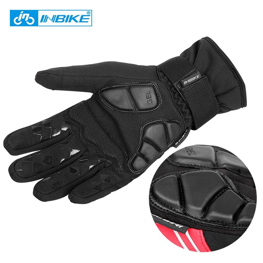 Prix pour Automne et hiver cyclisme gants Écran Tactile vtt route vélo vélo gants de sport chaud complet doigt luva ciclismo GEL + EVA Palm
