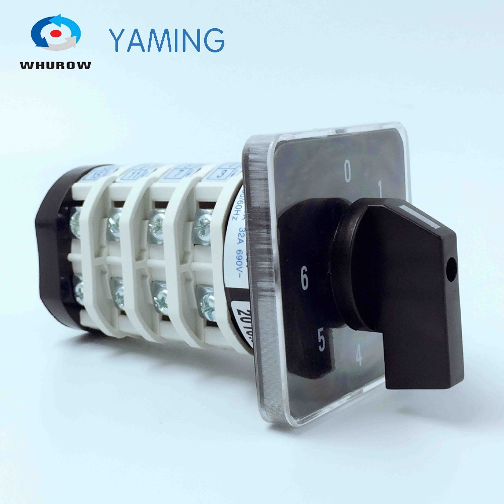 Rotary switch YMZ12-32/4 electrical Combination Changeover cam switch 32A 4 pole 0-6 position sliver contacts high voltageRotary switch YMZ12-32/4 electrical Combination Changeover cam switch 32A 4 pole 0-6 position sliver contacts high voltage
