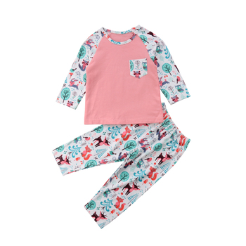 Newborn Toddler Baby Girl Long Sleeve Tops+Long Pants 2Pcs Outfit Clothes 0-24M