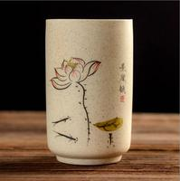 1 Pc Coffee Tea Mug Hand Painting Bamboo Lotus mugs Simple Ceramic Arts Mug Gifts 2017 New