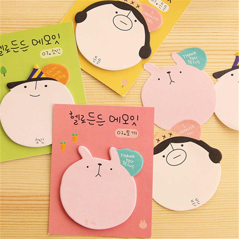 DL BF07 Korea kartun kepala gambar kenyamanan stiker stiker N kantor pos catatan buku Tulis untuk perlengkapan kantor pembelajaran