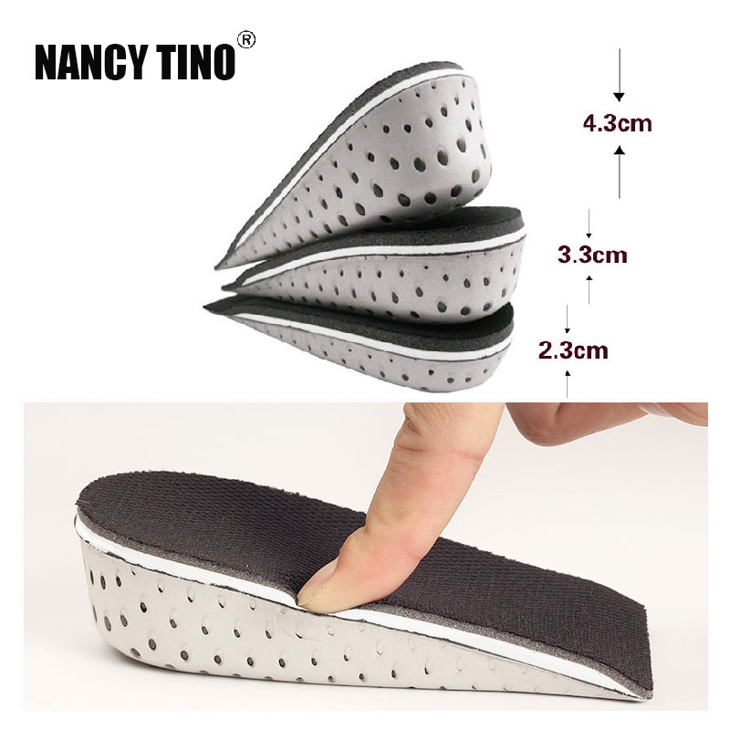 NANCY TINO Shoe Insoles Breathable Half Insole Heighten Heel Insert Shoes Pad Cushion Unisex Height Increase Insoles 1-4cm