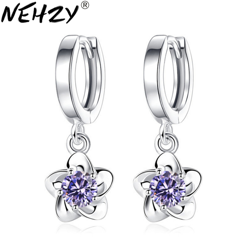 NEHZY 925 sterling silver new woman new fashion brand jewelry luxury cubic zirconia Drop simple plum blossom peony earrings 24MM