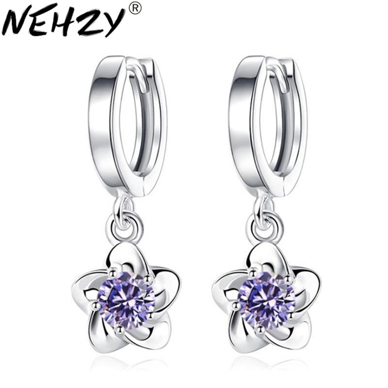 NEHZY 925 šterling srebro nova ženska nova modna znamka nakit luksuzni kubični cirkonij spusti preprost uhani iz slive potonike 24MM