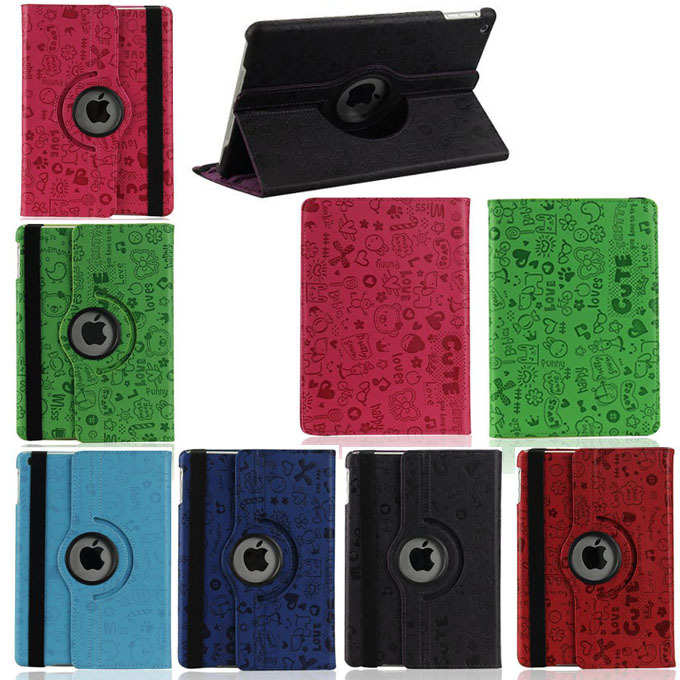 360 Rotation PU Leather case for Apple iPad Air 5 Protective Skin cover ipad5 flip cases with stand function Tablet  accessories