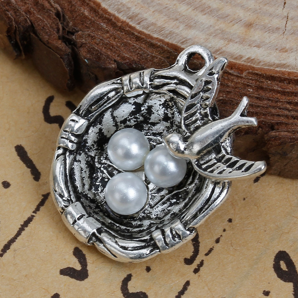DoreenBeads Zinc Based Alloy Antique Silver Charms Bird Nest White Acrylic Beads Swallow Carved DIY Components 23mm x 22mm,5 PCs