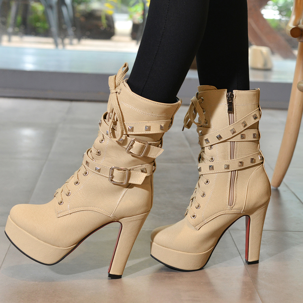 rebite botas senhoras meados de bezerro botas