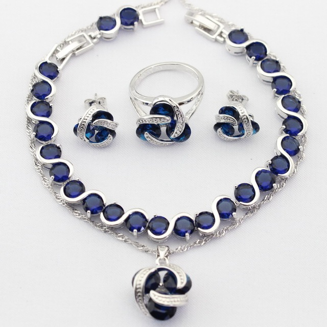 Charms Silver Color Women Jewelry Sets Blue Imitated Sapphire Zircon Christmas Necklace Pendant Drop Earrings Rings Bracelet