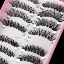10pairs Makeup Handmade soft Natural Black Crisscross Thick curl Long False Eyelashes Extension Full Strip fake Eye Lashes