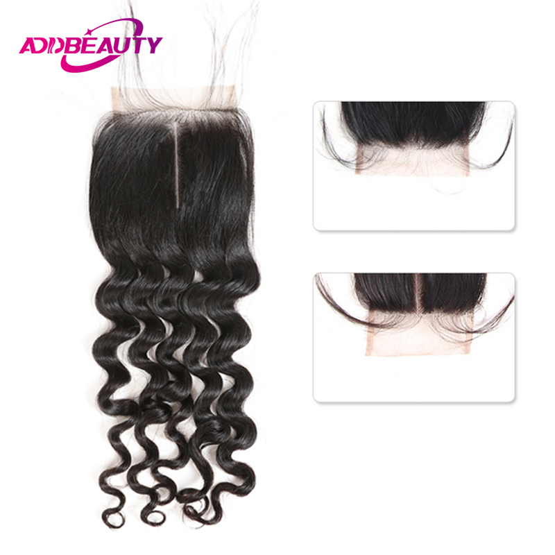 AddBeauty Brazilian Unprocessed Virgin Human Baby Hair Natural Wave 4x4 Lace Closure Free / Middle Part Natural Color