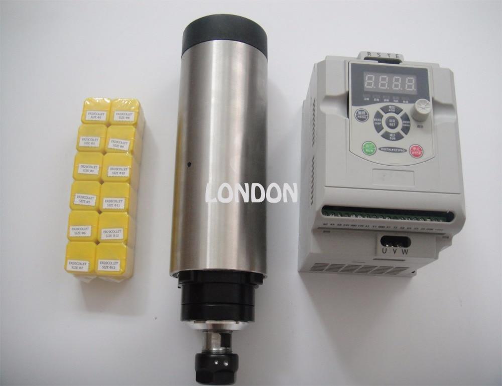 цена  CNC spindle kit ER20 2.2KW air cooling spindle + 1 pieces 2.2KW VFD inverter+10 pieces ER20 collets  онлайн в 2017 году