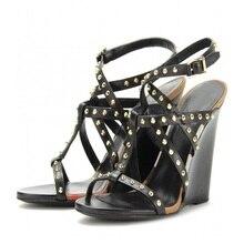 2015 nach Maß Frauen Sandalen Wedges High Heels Ankle Strap T-strap Decorated Mit Nieten Öffnen damen Schuhe