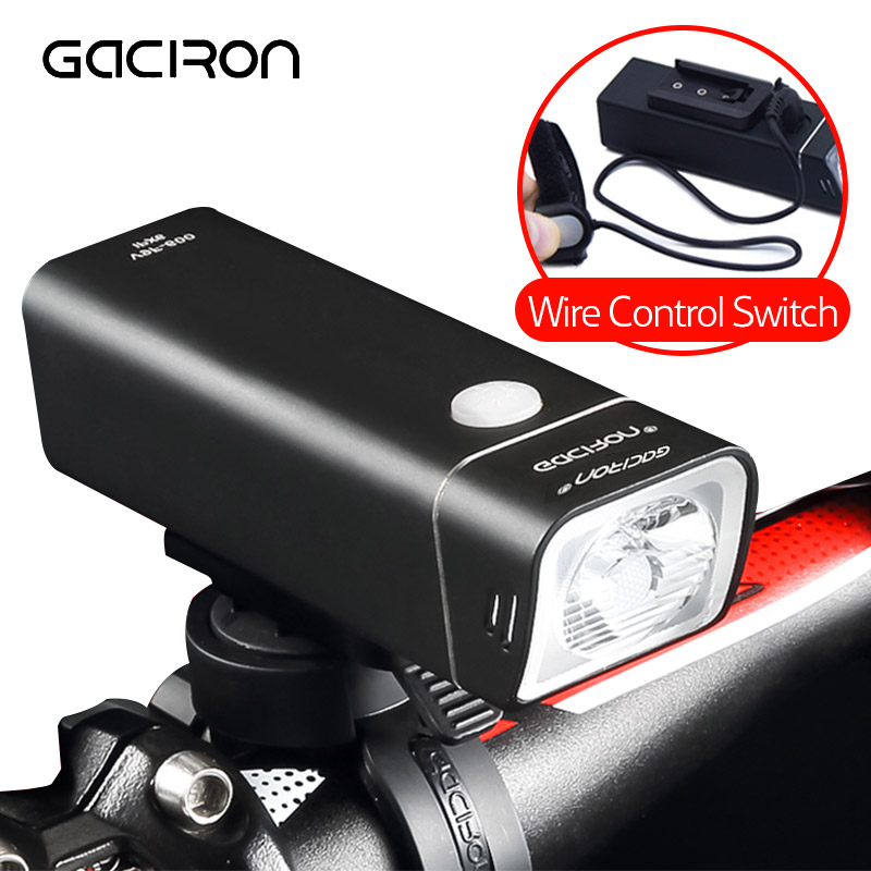 Gaciron Waterproof 600LM Bicycle Headlight with Wire Control USB Rechargeable MTB Bike Front light Flashlight Handlebar LED Lamp gaciron 1000lumen bicycle bike headlight usb rechargeable cycling flashlight front led torch light 4500mah power bank for phone
