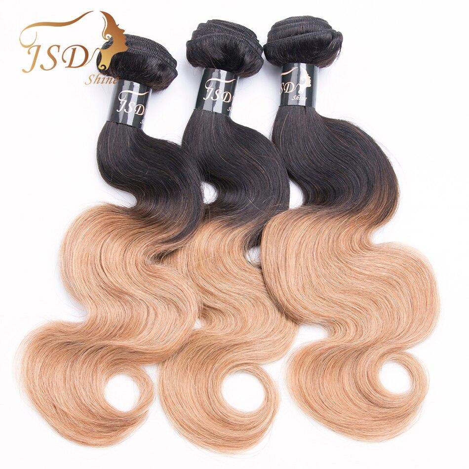 JSDShine Two Tone Ombre Body Wave Hair Bundles T1B 27 Brazilian Hair Weave Bundles Non Remy Human Hair Weave 3 Bundles