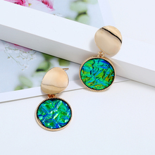 цена на L&H Creative Unique Women Dangle Earrings Elegant Double Round Dorp Earrings Hot Selling Female Statement Earrings Jewelry Trend