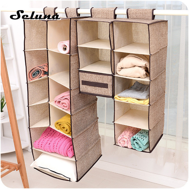 Fabric Hanging Closet Organizer Collapsible Clothes Drawer Shelves Folding  Box Underwear Sorting Clothing Storage Basket Of