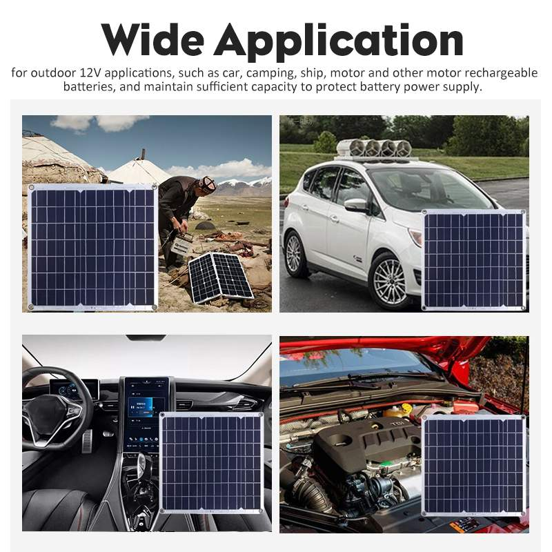 Image 2 - 50W Solar Panel Solar Cell Cell Module DC for Car Yacht Led Light RV 12V Battery Boat Outdoor Charger 39.5X39cm-in Solar Cells from Consumer Electronics