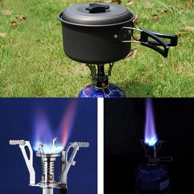 Mini camping folding outdoor gas portable furnace cooking picnic split stove