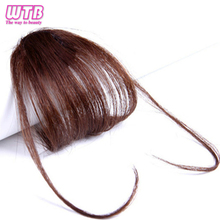 WTB искусственные воздушные челки с бахромой на клипсах 6 дюймов короткие прямые передние синтетические волосы для наращивания тонкие тупые челки черные волосы