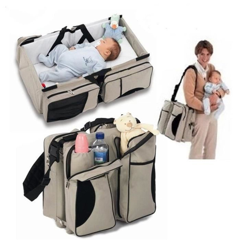 Hight Quality 2 in1 Portable Foldable Mummy Changing Baby Diaper Nappy Bed Bag Crib Travel  цена и фото