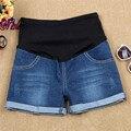 2016 moda vaqueros de maternidad del verano pantalones cortos de mezclilla para mujeres embarazadas Gravida pantalones embarazo ropa elástica pantalones vaqueros cortos M-XXL