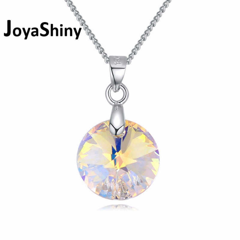 Joyashiny ClassicRound Type Pendant Necklace Crystals From Swarovski Elements Silver Color Chain Necklace For Women Kids Jewelry