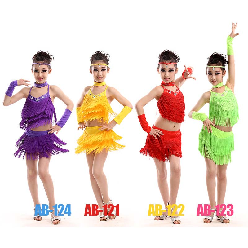 New kids salsa dresses sequin latin dance dress for girls fringe dancing dancewear stage samba junior ballroom standart costumes