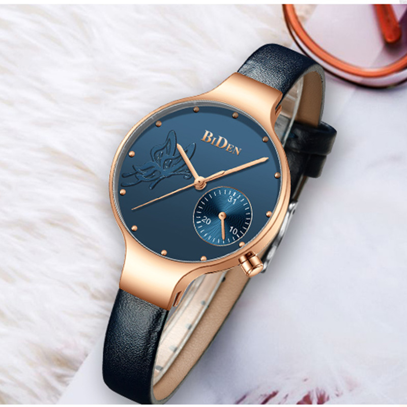 Women Fashion Blue Quartz Watches Top Brand Lady Leather Watchband High Quality Casual Waterproof Wristwatch Gift for Wife 2019