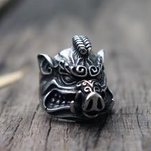 Beast wild boar totem Biker Rings Mens Pig Sacrifice Stainless Steel Ring Punk Animal jewelry